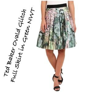 Ted Baker Ovald Glitch Full Skirt in Green NWT
